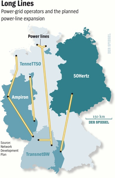 Planned expansion of Germany's power grid.